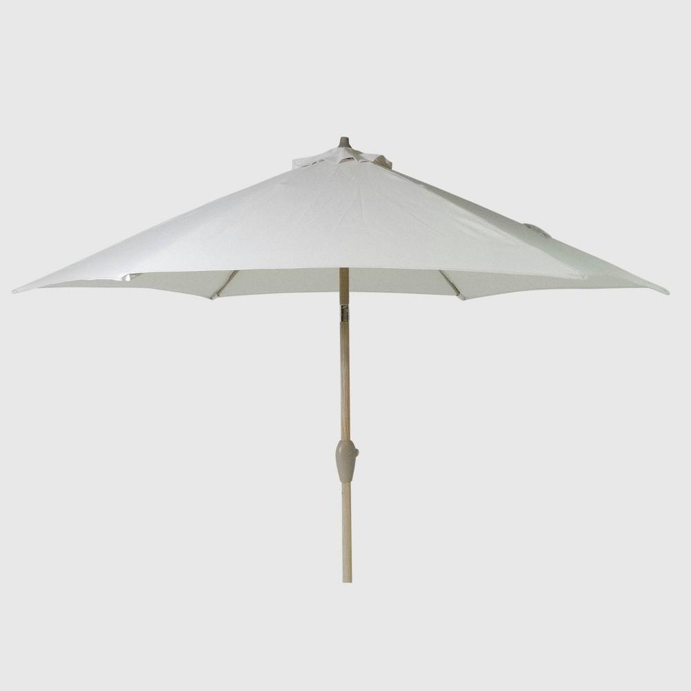 9' Round Patio Umbrella Linen - Light Wood Pole - Threshold