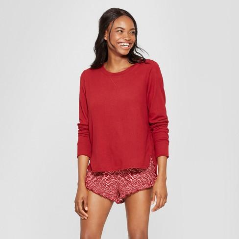 9e7ff9687ca4 Women s Polka Dot 3pc Lounge Pajama Set - Xhilaration™ Burgundy XS ...