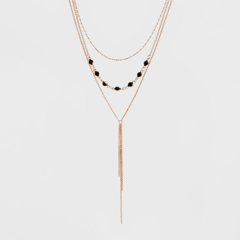 Multi Row Layered with Chanel Beads and Y Necklace with Tassel Necklace - Rose Gold - image 1 of 3