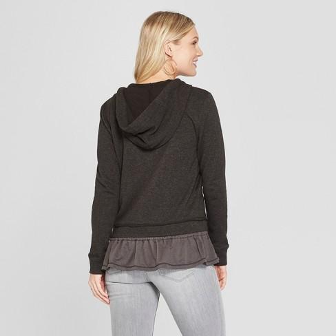 59d08af65 Women s Long Sleeve Peplum Hem Zip-Up Hoodie - Knox Rose™ Gray   Target