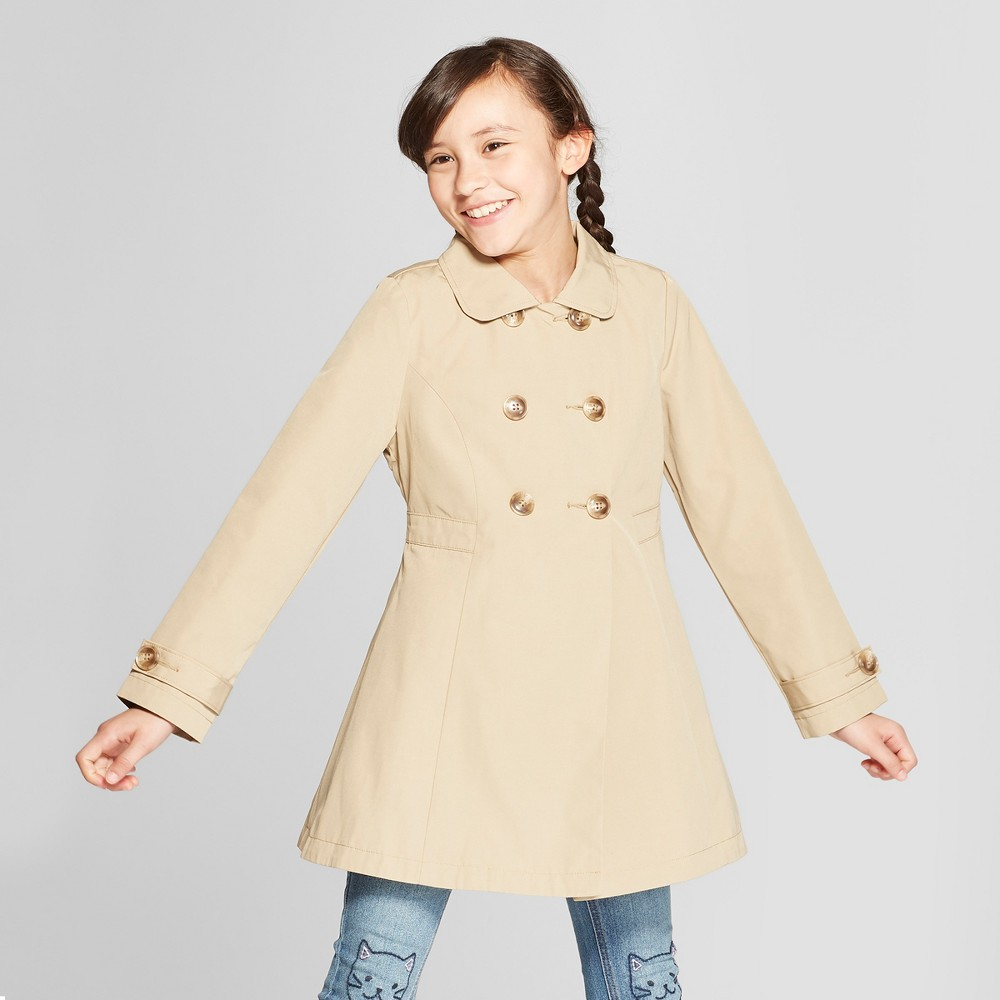 Girls' Trench Coat - Cat & Jack Khaki L, Brown