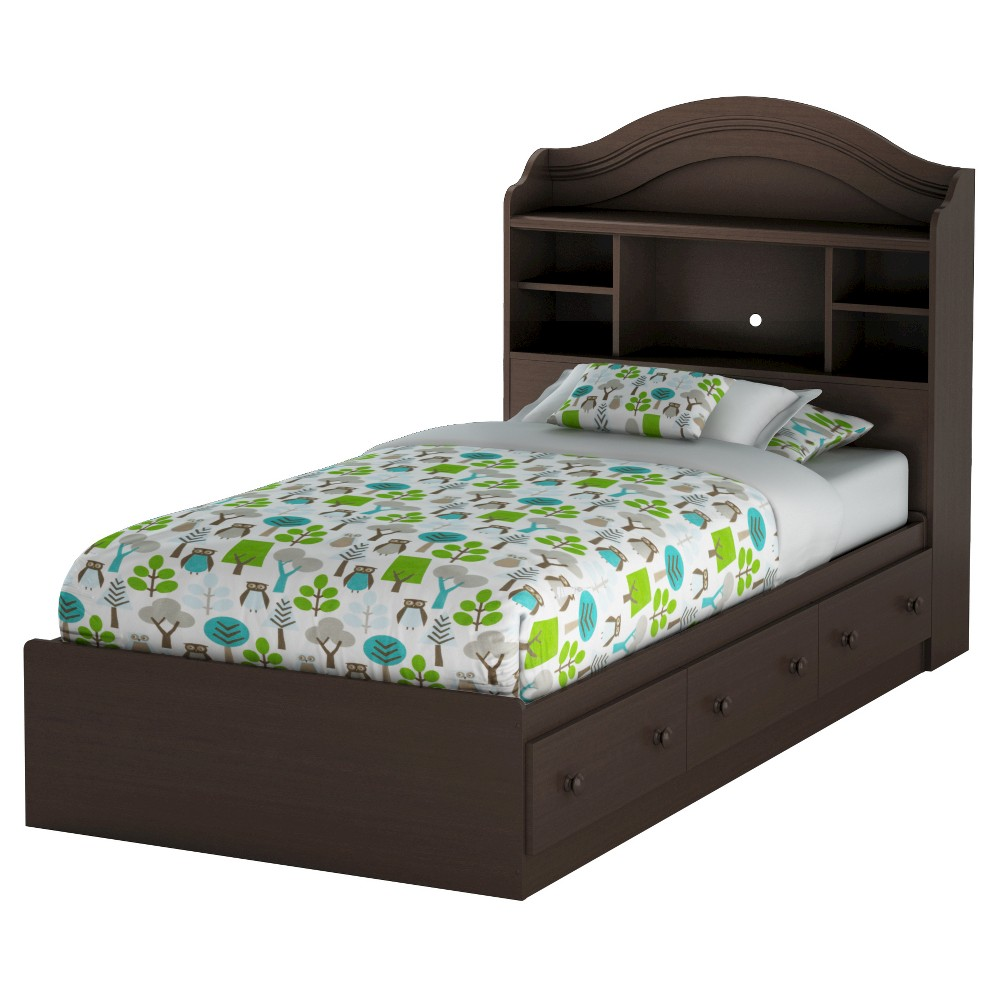 Summer Breeze Twin Mates Bed with Drawers & Bookcase Headboard Set - 39''- Chocolate (Brown) - South Shore
