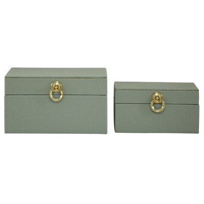 Set of 2 Faux Shagreen Wood Box with Metal Ring Fixtures - Olivia & May
