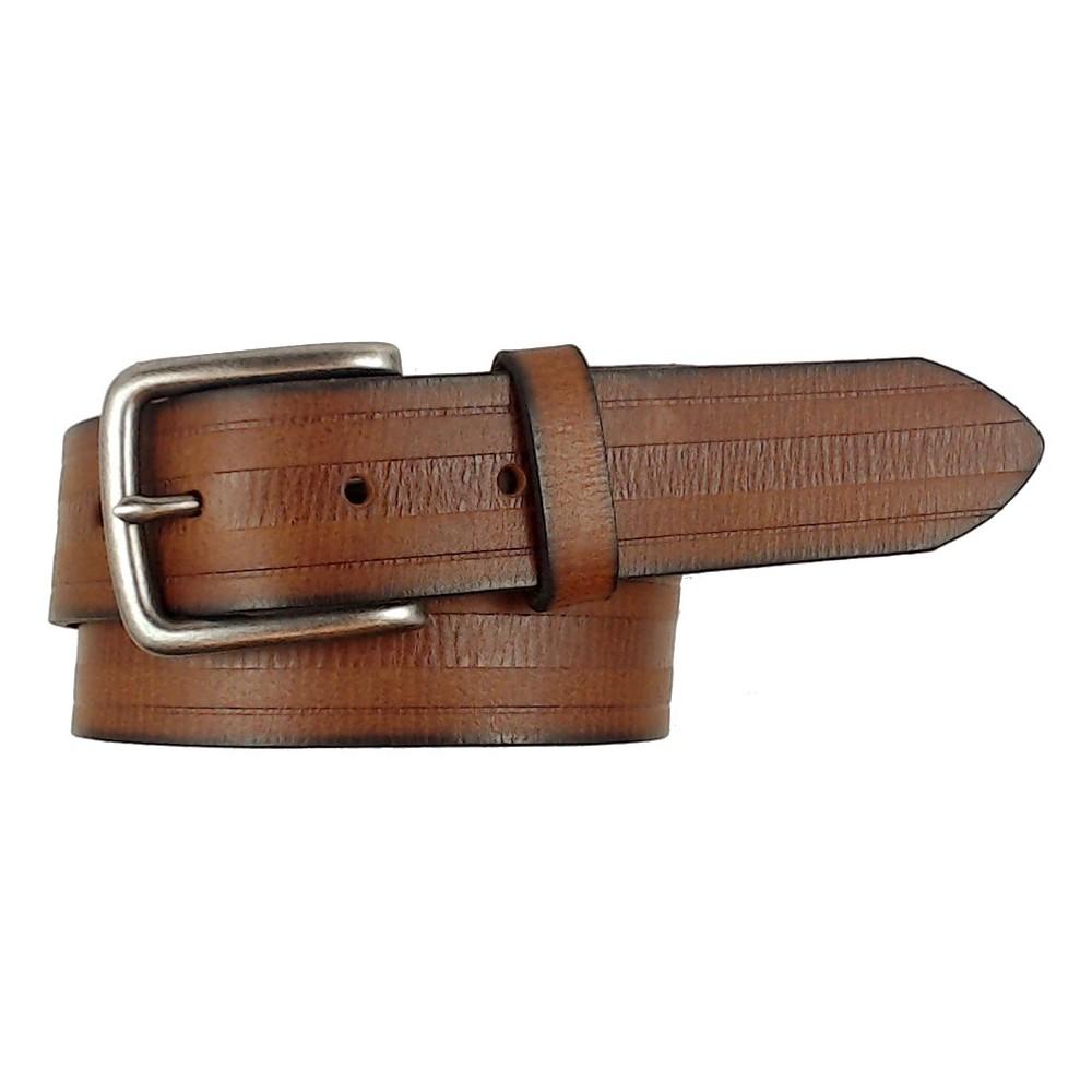 Men's 3-Row Embossed Belt - Goodfellow & Co Brown XL