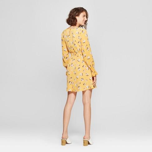 c501e30132cc5 Women s Floral Print Long Sleeve Smocked Waist Dress - Almost Famous ( Juniors ) Mustard   Target