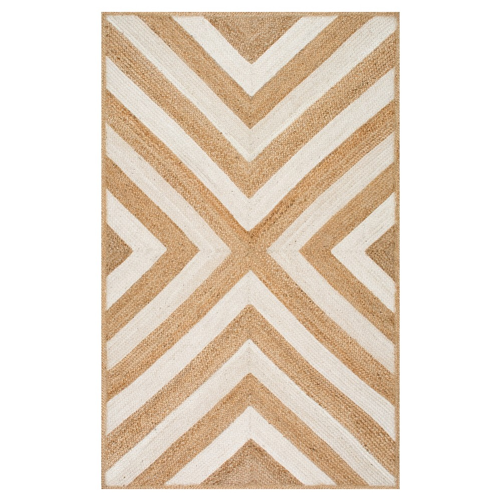 White Solid Loomed Area Rug - (5'x8') - nuLOOM, White Beige