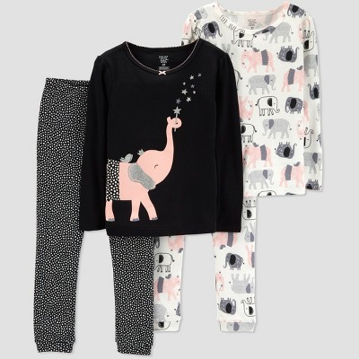 Baby Girls' 4pc Elephant Pajama Set - Just One You® made by carter's Black 9M