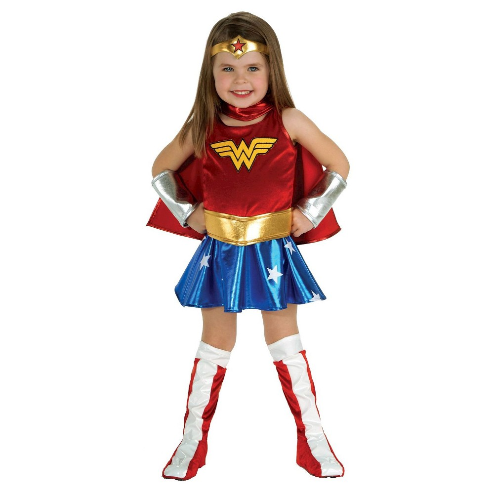 Image of Halloween Toddler Girls' DC Super Hero Girls Wonder Woman Costume - 2T, Girl's, Size: Small, Red