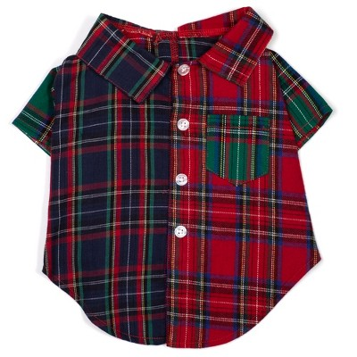The Worthy Dog Flannel Colorblock Tartan Plaid Button Up Look Pet Shirt