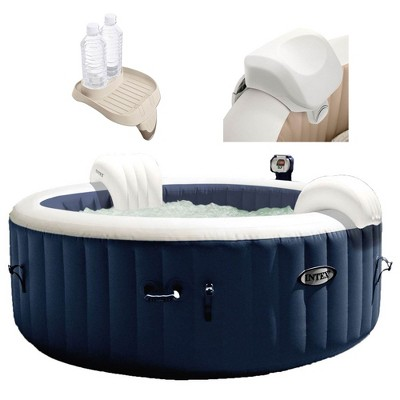 """Intex 28405E PureSpa 4 Person Home Outdoor Inflatable Portable Heated Round Hot Tub Spa 58"""" x 28"""" with Bubble Jets, Soft-Foam Headrest, and Drink Tray"""