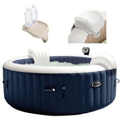 Intex 28405E Pure Spa 4 Person Inflatable Hot Tub With Headrest And Cup Holder