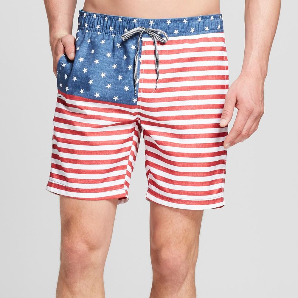 Men's Striped 7.5 Thirteenth Elastic Board Shorts - Goodfellow & Co Awesome Blue 2XL