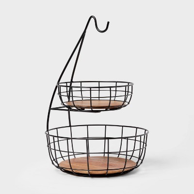 Iron and Mangowood Wire 2-Tier Fruit Basket with Banana Hanger Black - Threshold™