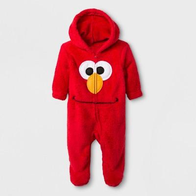 Baby Boys' Sesame Street Elmo Hooded Romper - Red 0-3M