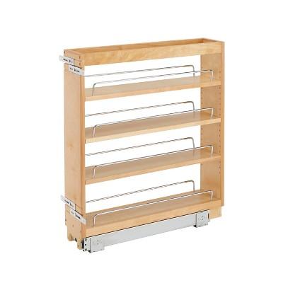 "Rev-A-Shelf 448-BC-5C 5"" Pullout Wood Kitchen Cabinet Organizer Rack, Maple"