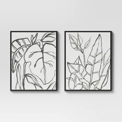 "24"" x 30"" Botanical Sketch Framed Wall Canvas White/Black - Project 62™"