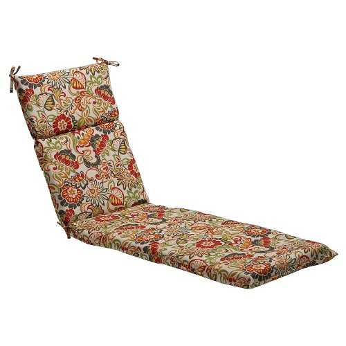 Outdoor Chaise Lounge Cushion - Green/Off-White/Red Floral