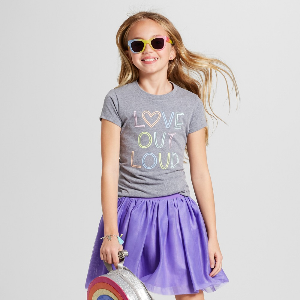 Girls' Short Sleeve Love Out Loud Graphic T-Shirt - Cat & Jack Gray M, Blue