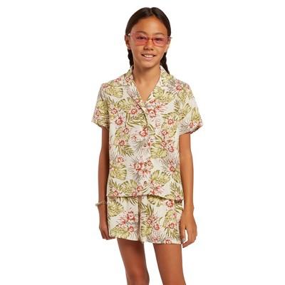 Volcom Girls Not Real Shore Short Sleeve Woven Floral Shirt