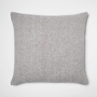 Oversized Square Woven Herringbone Pillow Gray - Threshold™