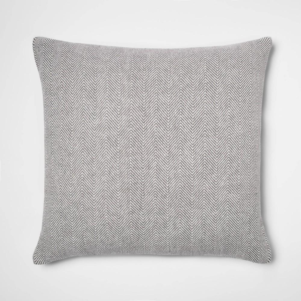 Oversized Woven Herringbone Square Throw Pillow Gray Threshold 8482