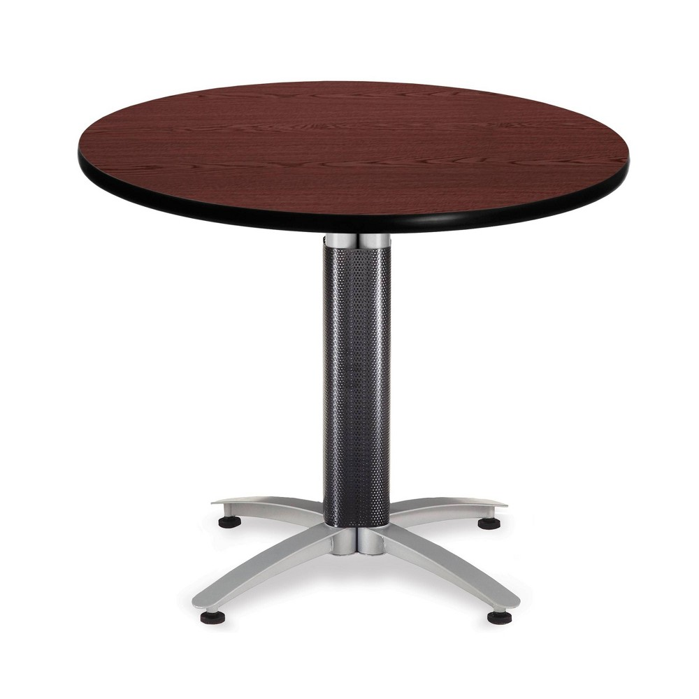 "Image of ""36"""" Round Table with Metal Mesh Base Mahogany - OFM"""