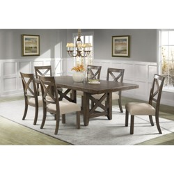 Francis 7pc Dining Set Table And 6 X Back Wooden Side Chairs Chestnut Brown - Picket House Furnishings