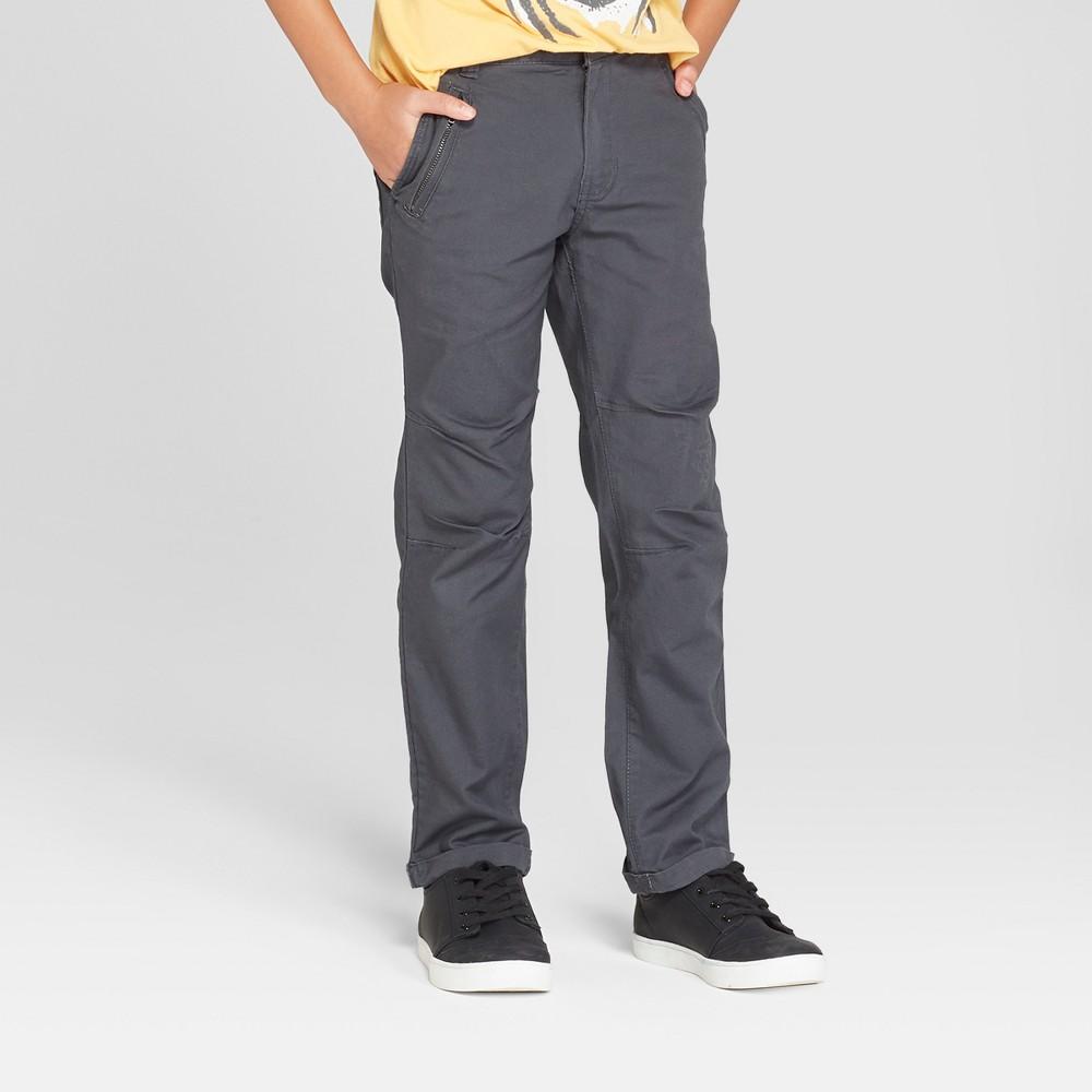 Boys' Skinny Chino Pants - Cat & Jack Charcoal Gray 6