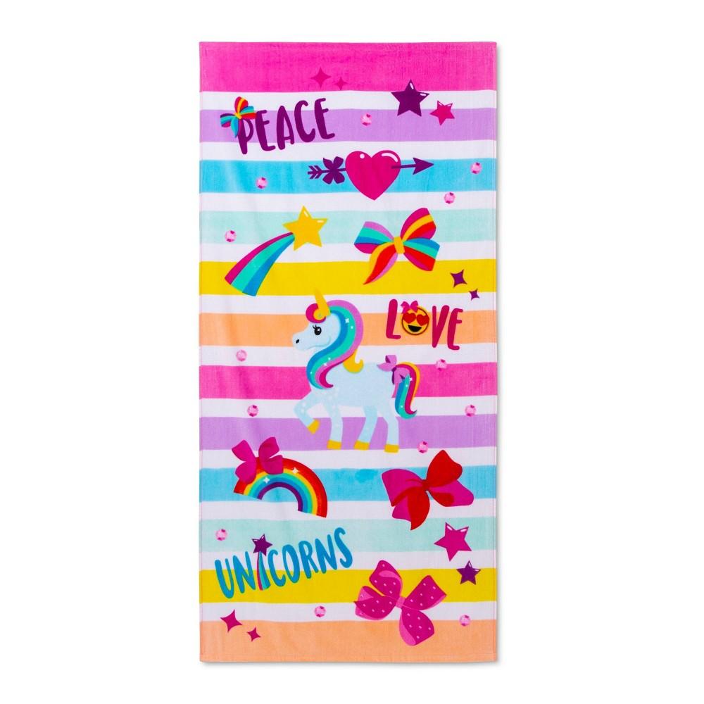 Image of JoJo Siwa Peace Love Beach Towel Pink - Nickelodeon