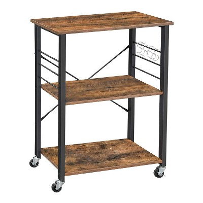 3 Tier Wood and Metal Kitchen Cart with Casters Brown/Black - Benzara
