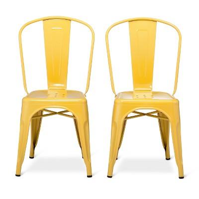 Carlisle High Back Metal Dining Chair - Yellow - (Set of 2)