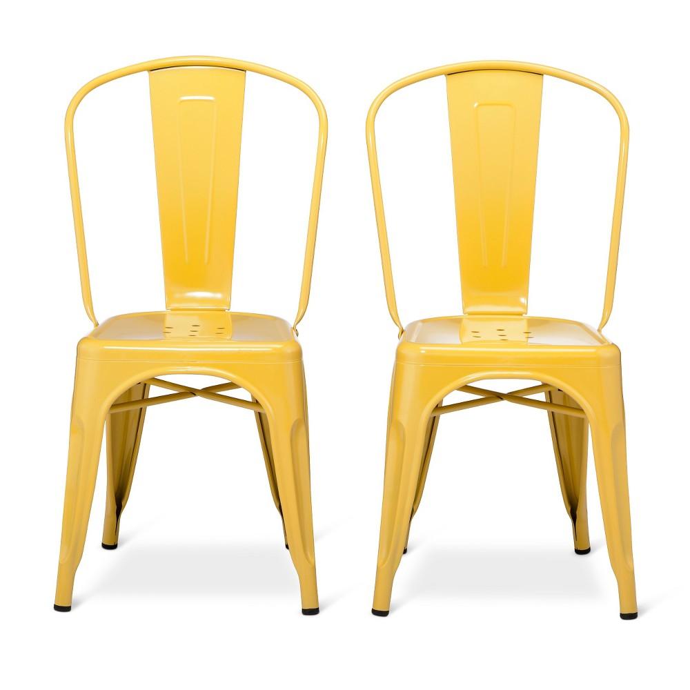 Image of Set of 2 Carlisle High Back Metal Dining Chair Yellow - Ace Bayou