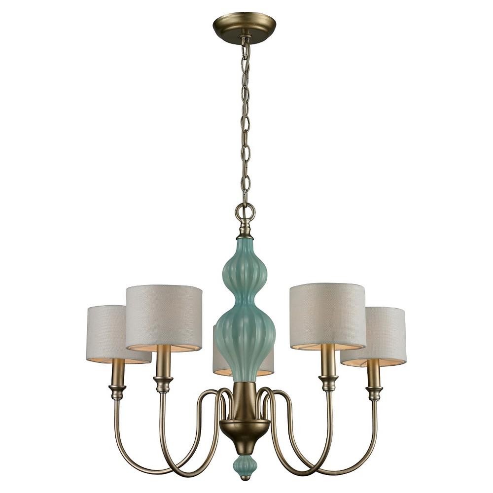 Lazy Susan 5 Light Chandelier - Aged Silver