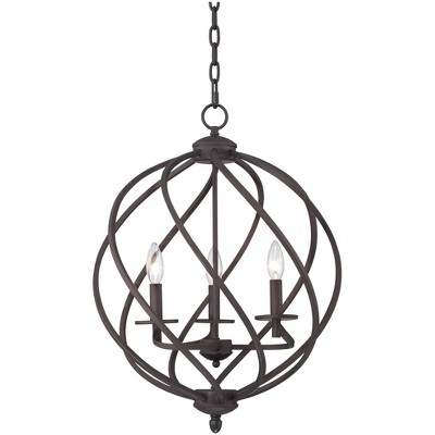 """Franklin Iron Works Bronze Orb Foyer Pendant Chandelier 18 1/2"""" Wide Rustic Farmhouse 3-Light Fixture Dining Room House Kitchen"""