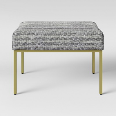 Ludlow Square Fabric Upholstered Ottoman Gold Legs - Threshold™