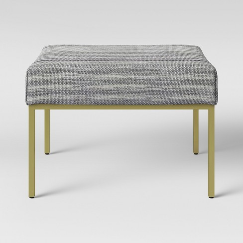 Pleasing Ludlow Square Fabric Upholstered Ottoman Gold Legs Threshold Theyellowbook Wood Chair Design Ideas Theyellowbookinfo