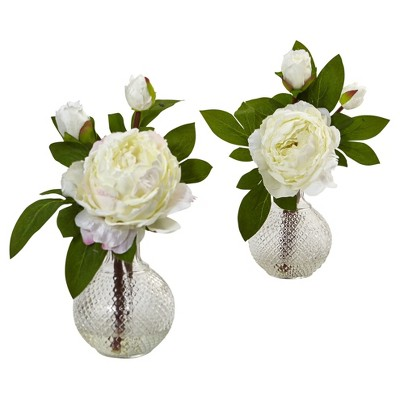 Peony with Vase 2ct (11 )- Nearly Natural