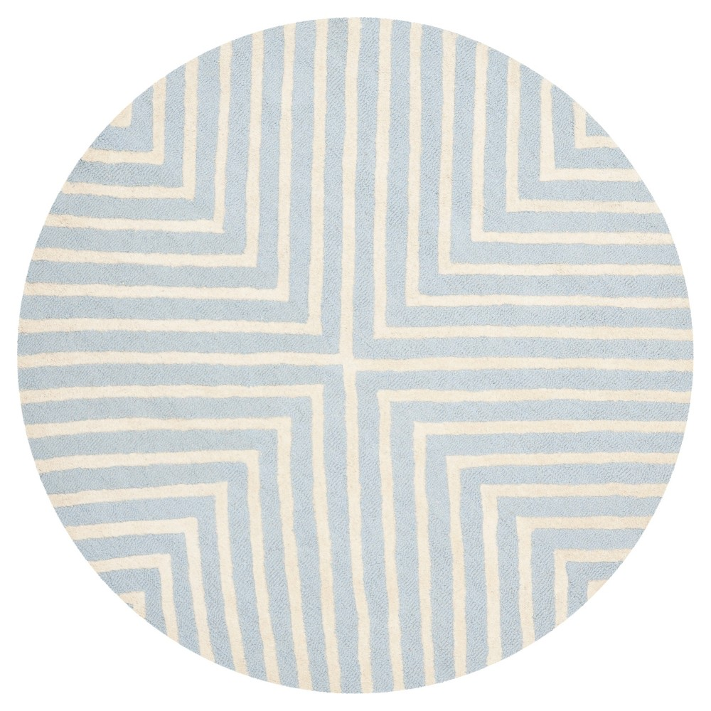 8' Geometric Area Rug Light Blue/Ivory - Safavieh