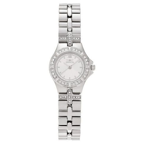 Women's Invicta 0132 Stainless Steel Rhinestone Accent Link Bracelet Watch - Silver - image 1 of 3