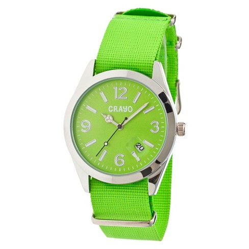 Women's Crayo Sunrise Watch with Nylon Strap and Luminous hands- Lime - image 1 of 3