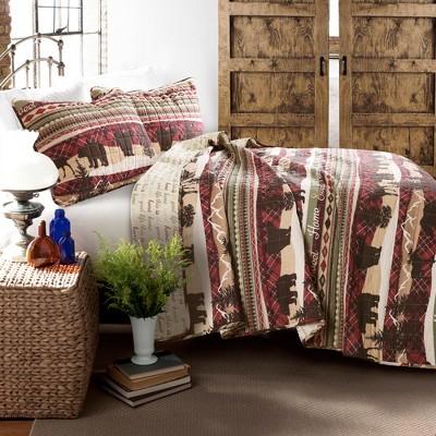 3pc Lodge Quilt Set Red/Brown - Lush Décor