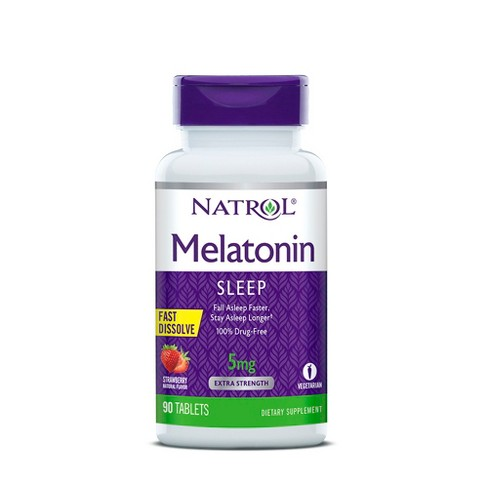 Natrol Melatonin 5mg Sleep Aid Fast Dissolve Tablets - Strawberry - 90ct - image 1 of 4