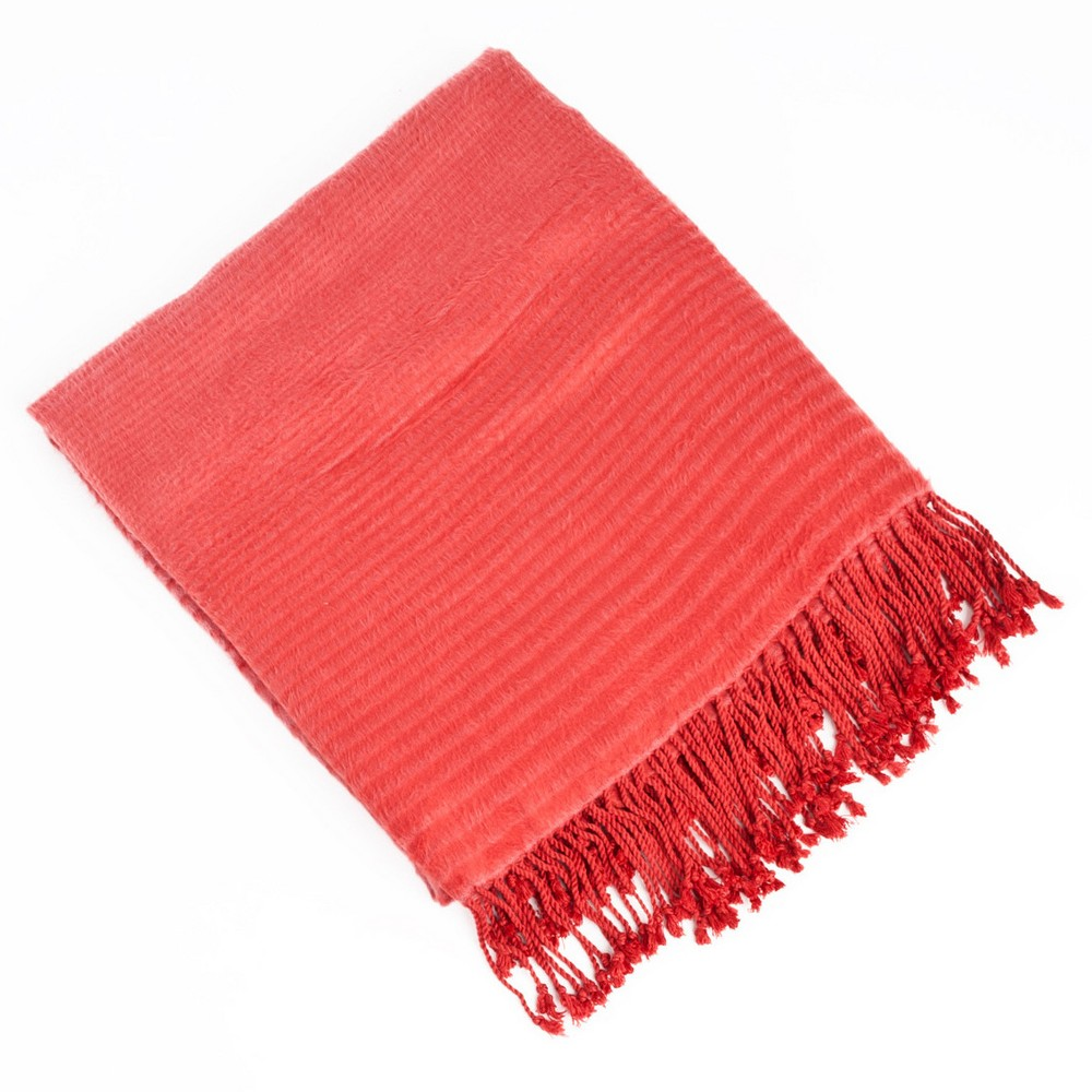 """Image of """"Red Striped Design Rayon Made From Bamboo Throw (50""""""""X60"""""""")"""""""