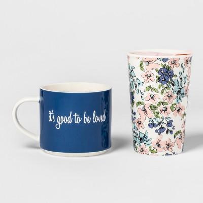 2pc Porcelain It's Good to be Loved Traveler Set - Threshold™