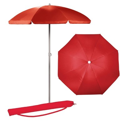 Picnic Time 5.5' Portable Beach Stick Umbrella - Red
