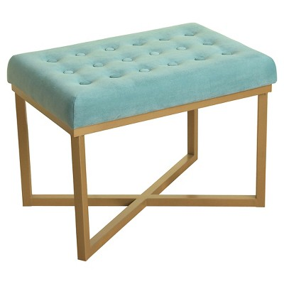 Rectangle Ottoman with Caribbean Velvet Tufted Cushion and Gold Metal X Base - HomePop