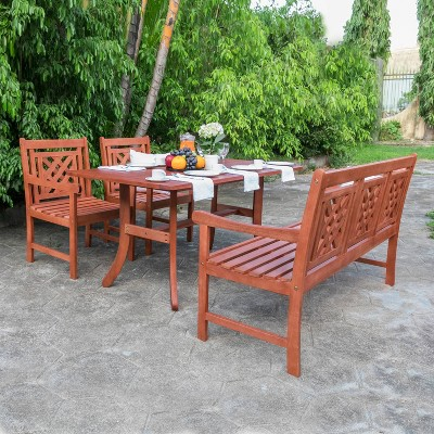 Malibu 4pc Wood Outdoor Patio Picnic Dining Set - Tan - Vifah