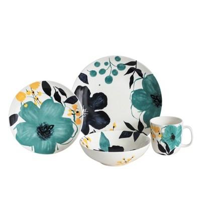 16pc Stoneware Bella Floral Dinnerware Set - Baum Bros.