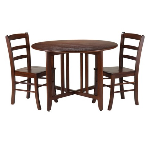3 Piece Alamo Round Drop Leaf Table with 2 Ladder Back Chairs Wood/Red -  Winsome