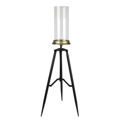 """Allstate Floral 30.75"""" Black and Gold Hurricane Glass Candle Holder with Fold-able Metal Stand"""
